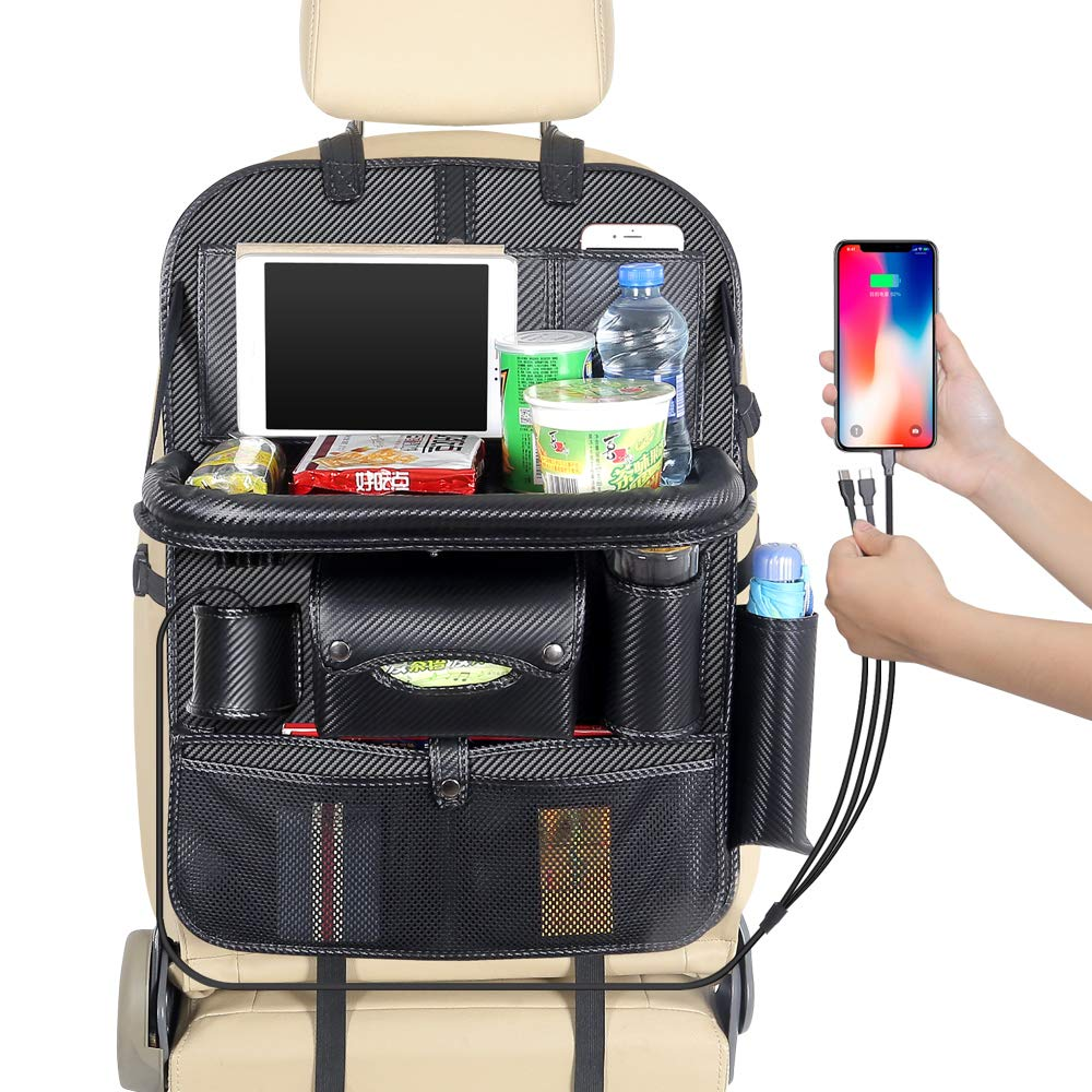 JIAKANUO Auto Car Seat Back Organizer Pocket,Car Pocket Organiser with Tablet Ipad Holder Mobile Tray 3USB Cables for Cellphones Kids Baby Travel PU Leather (PG12,3 Cables,with Tray,Carbon) by JIAKANUO (Image #7)