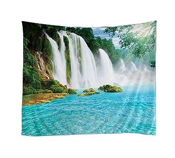 Izielad Natur Baum Hugel Wasserfall Wand Hangende Wandbehang