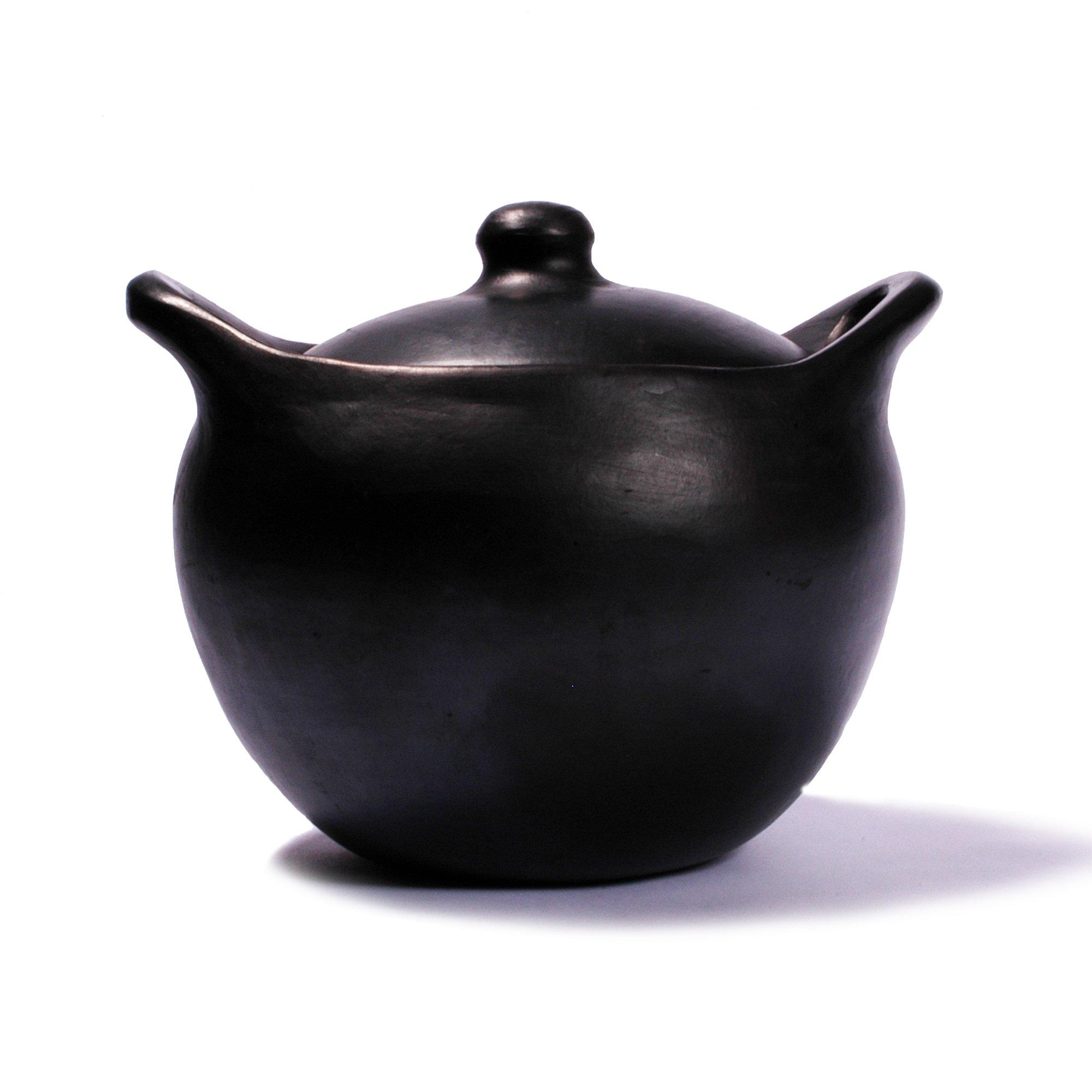 Ancient Cookware Black Clay, La Chamba Rounded Soup Pot - Medium - 4 quarts