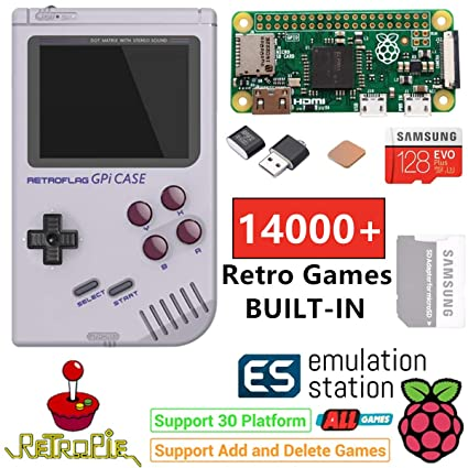 TAPDRA Raspberry Pi Zero Handheld Portable Game Console, RETROFLAG GPi Case with Safe Shutdown, 128GB Fast Card with 14000+ Games, Customized Retropie ...