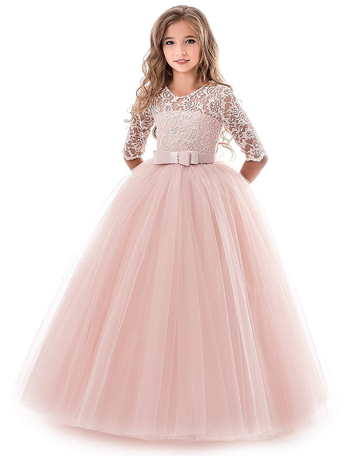 Big Girls Formal Dresses Size 9-10 Lace Princess Special Occasion Dress Long Sleeve Christmas Wedding Holiday Party Girl Dress 10 Years Elegant Tulle Dress Floor Length Princess Frocks (Pink 150)