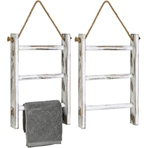 MyGift 3-Tier Wall Hanging Whitewashed Wood Towel Storage Ladder with Top Rope, Set of 2