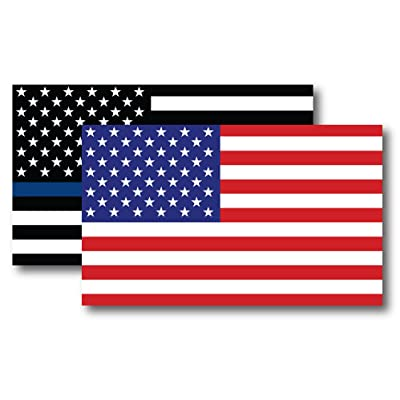 Thin Blue Line American Flag Magnet Decal and American Flag Magnet 3x5 - Heavy Duty for Car Truck SUV - 2 Pack - in Support of Police and Law Enforcement Officers: Automotive