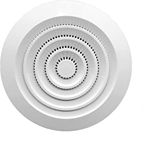 Round Air Vent ABS Louver Grille Cover White Soffit Vent with Built-in Fly Screen Mesh for Bathroom Office Kitchen Ventilation (4'' Inch, White - Plastic)