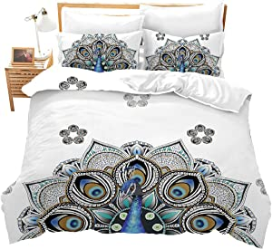 Erosebridal Peacock Decor Duvet Cover Set Kids Twin Cute Animal Theme Bedding Set Print for Adult Teen Boys and Girls Decorative Bedding Animal Soft Comforter/Quilt Cover Peacock Feathers Bed Cover E