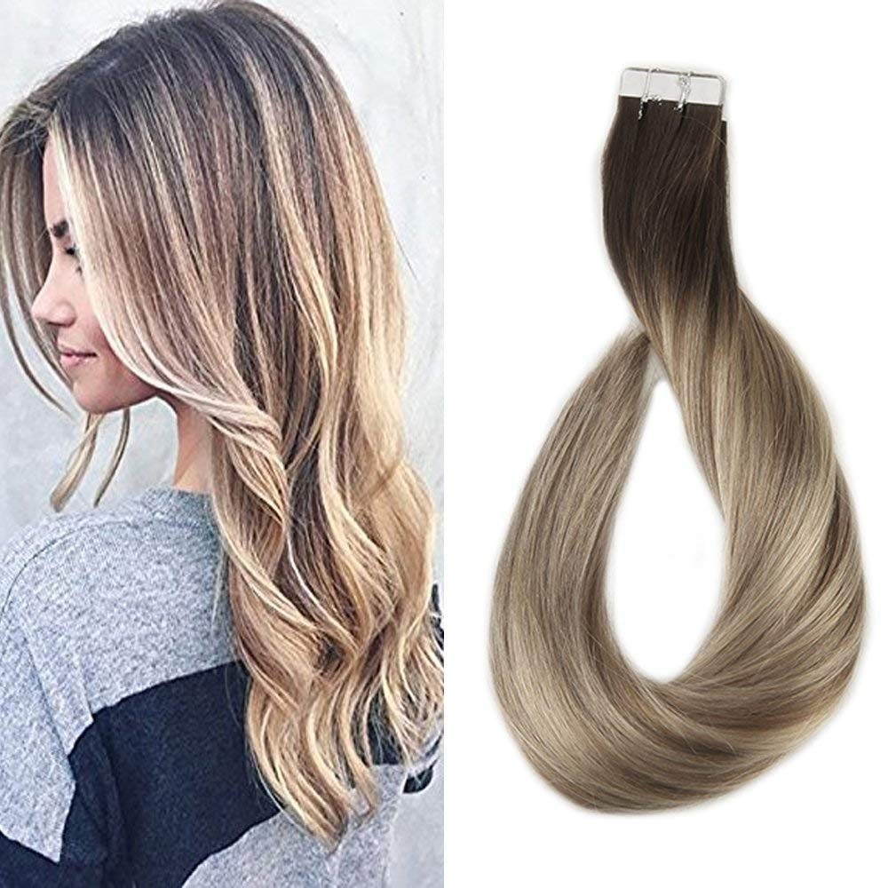 Full Shine Tape in Hair Extensions 20 inch Human Hair Tape Hair Extensions Balayage Color #3 Dark Brown Fading to #8 and #22 Blonde Highlighted Glue Extensions 50g Per Pack by Full Shine