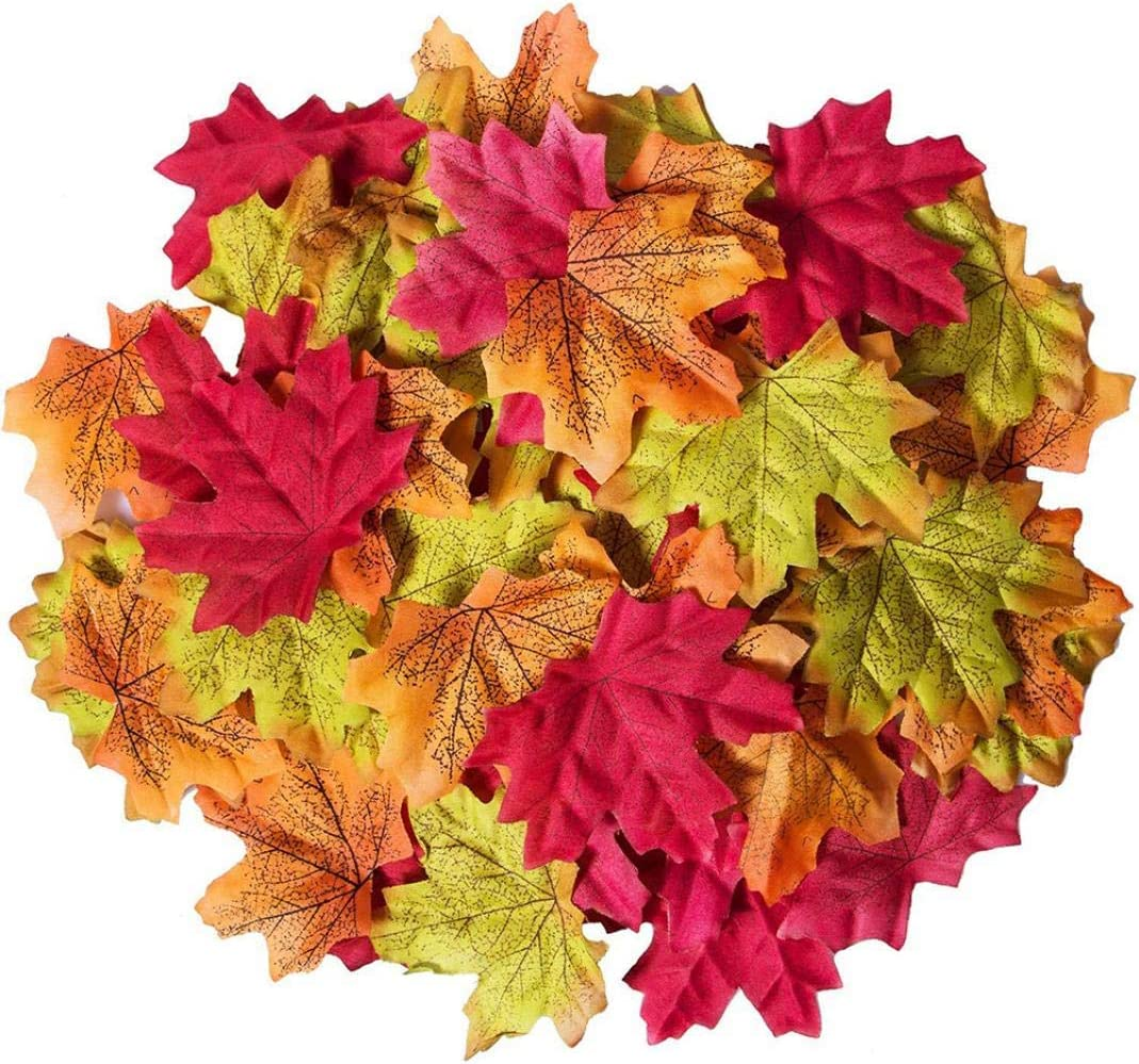 100//200Pcs Artificial Fall Maple Leaf Xmas Thanksgiving Holiday Party Prop Decor Merry Christmas Decorative Xmas Decor Ornaments Party Decor Xmas Gifts Stocking Fillers Christmas Decorations Sale