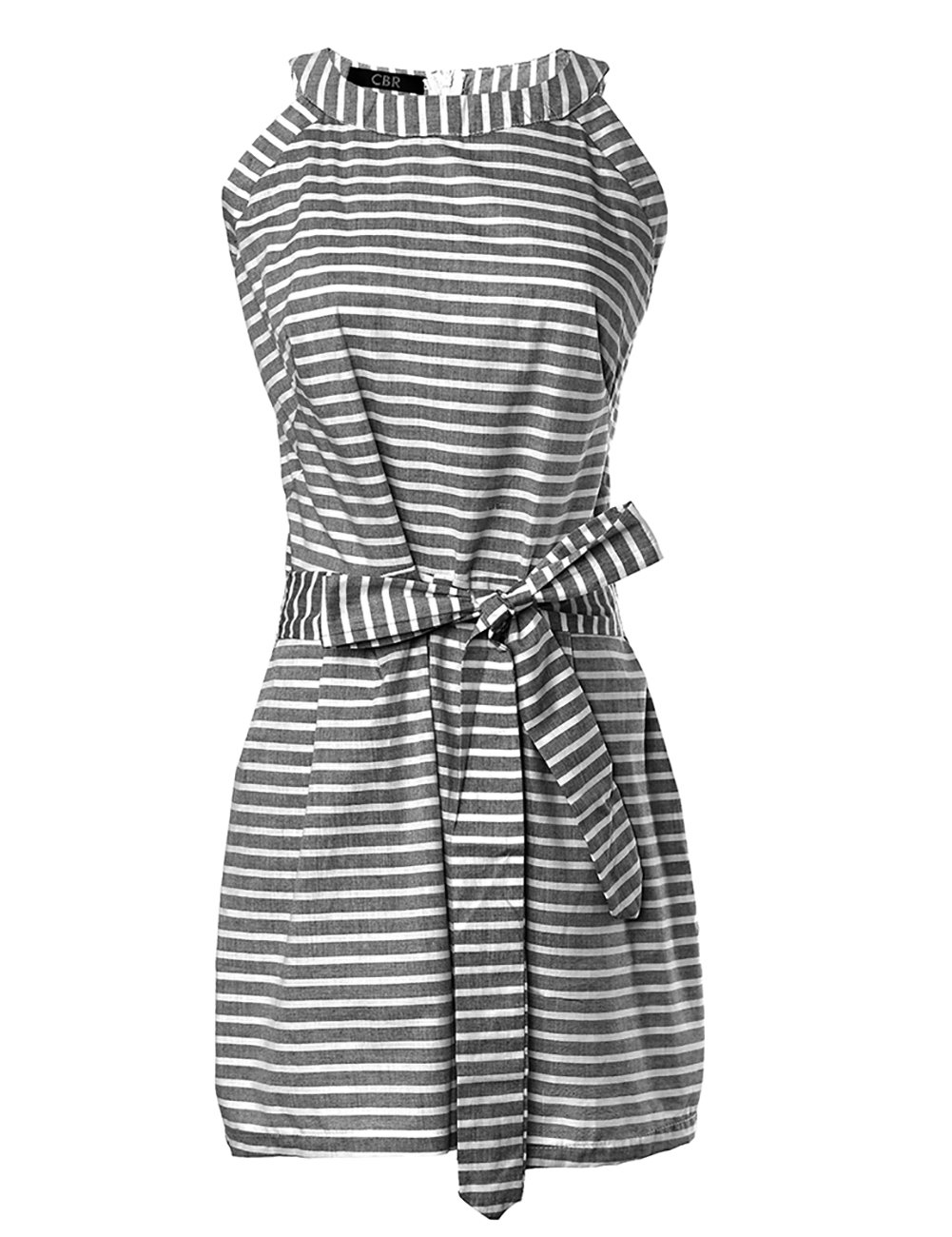 DUBACH Women Casual Striped Sleeveless Short Romper Jumpsuit L Gray by DUBACH (Image #3)