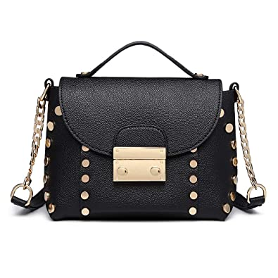 Miss Lulu Leather Look Stud Detail Mini Shoulder Bag Fashion Plug Lock Women  Top Handle Bag 94da74b22f8ea