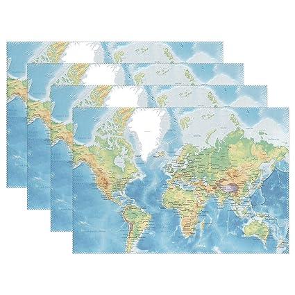 Amazon Com Ethel Ernest Cool World Map Plain Heat Resistant