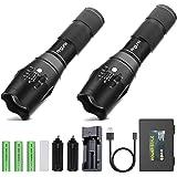 AngLink Pack de 2 Linterna LED con batería, Linterna Táctica Militar con Potente Zoom 1200LM, 5 Modos de Intensidad Regulables, a Prueba de Golpes e Impermeable, Ideal para Acampar, Senderismo