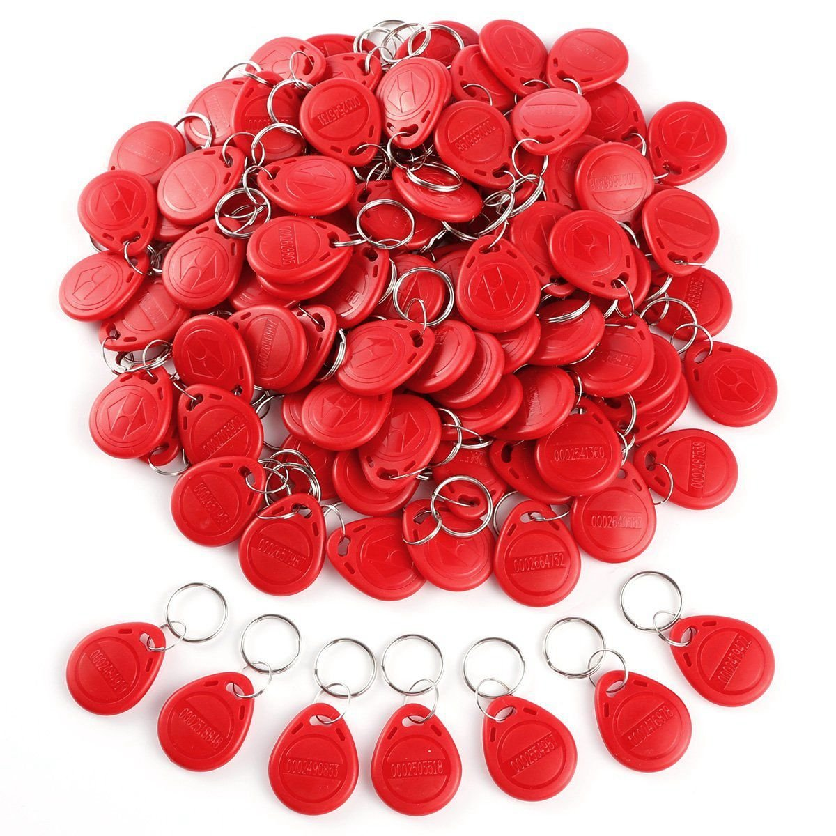 TOOGOO 100pcs Cle ID RFID Remote Control Identification Card Door System Entry Access Tag Badge token lock 125KHZ Red