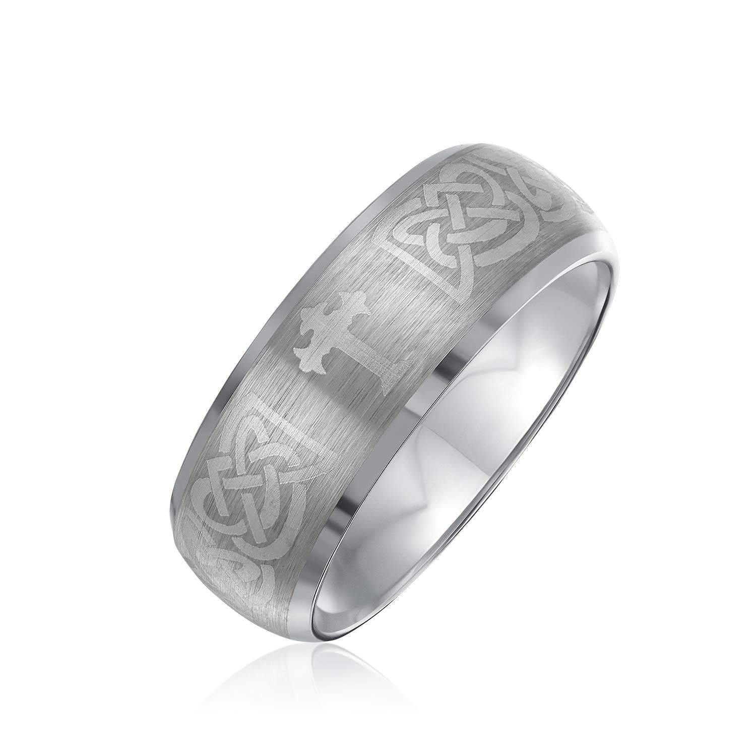 Two Tone Black Silver Celtic Knot Dragon Inlay Couples Titanium Wedding Band Rings/ for/ Men for Women Comfort Fit 8MM