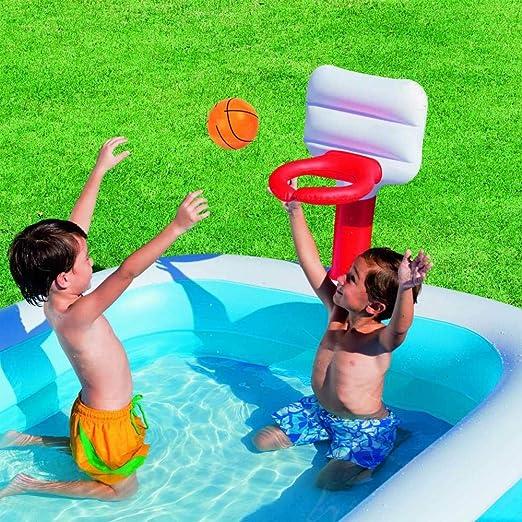 MANWEI Piscinas 254X168X102Cm Piscina Inflable para Niños Piscina Al Aire Libre En El Hogar Baloncesto Acuático Inicio Piscina Infantil con 2 Bolas Inflables: Amazon.es: Jardín