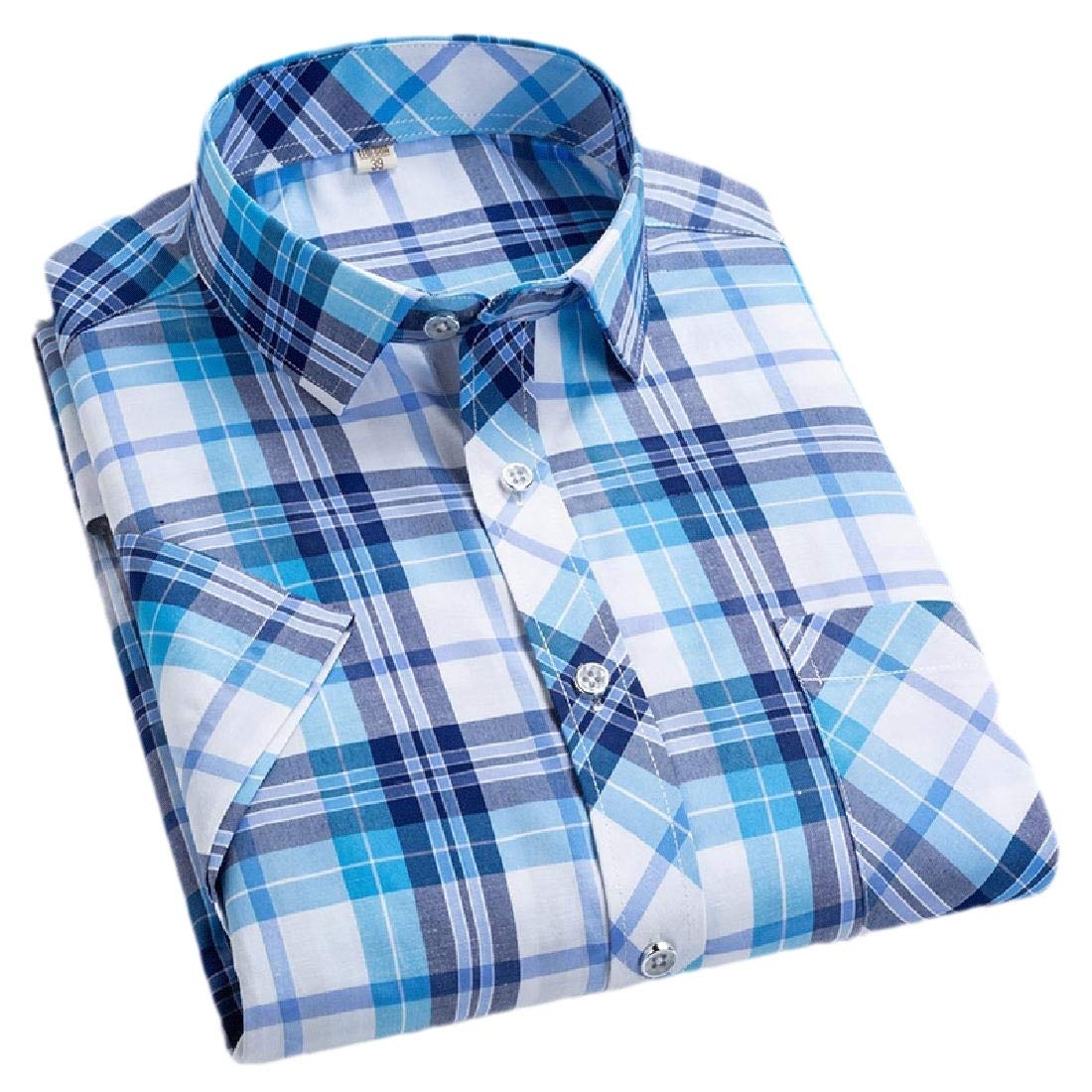 omniscient Men Basic Casual Short Sleeve Plaid Checkered Gingham Dress Shirts