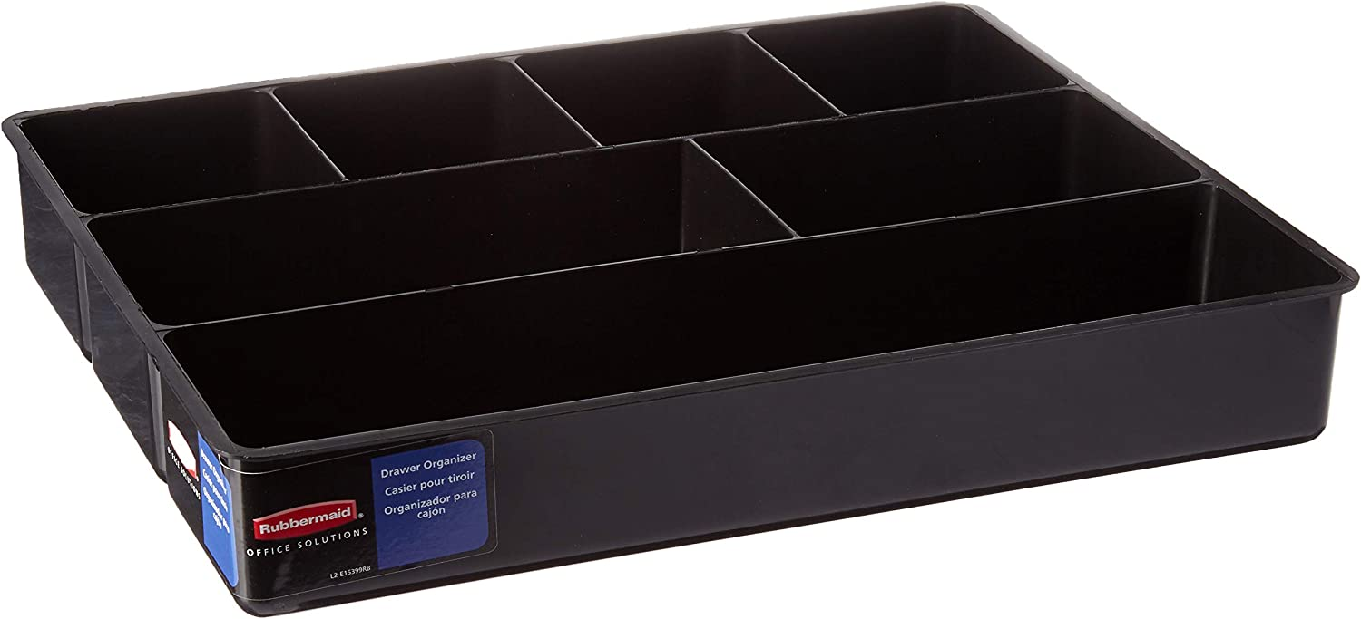 Rubbermaid Extra deep Desk Drawer Director Tray, Black, Pack of 6