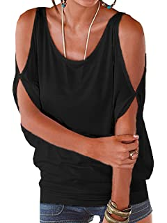 cb2782345b6ed4 YOINS Womens Cold Shoulder Casual Summer Top Scoop Neck Off Shoulder ...