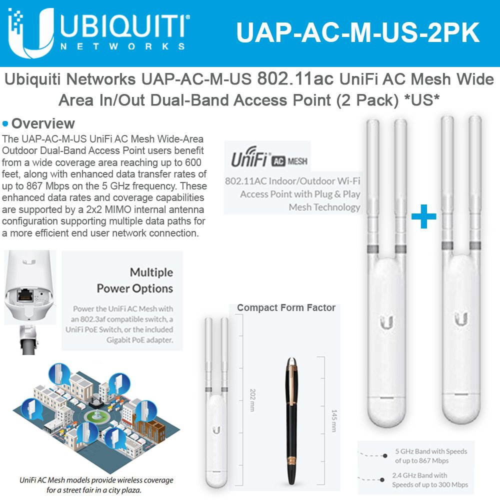 UniFi AP AC Mesh UAP-AC-M-US Wide-Area Indoor/Outdoor Dual-Band Access Point (2 Pack) by UBNT Systems