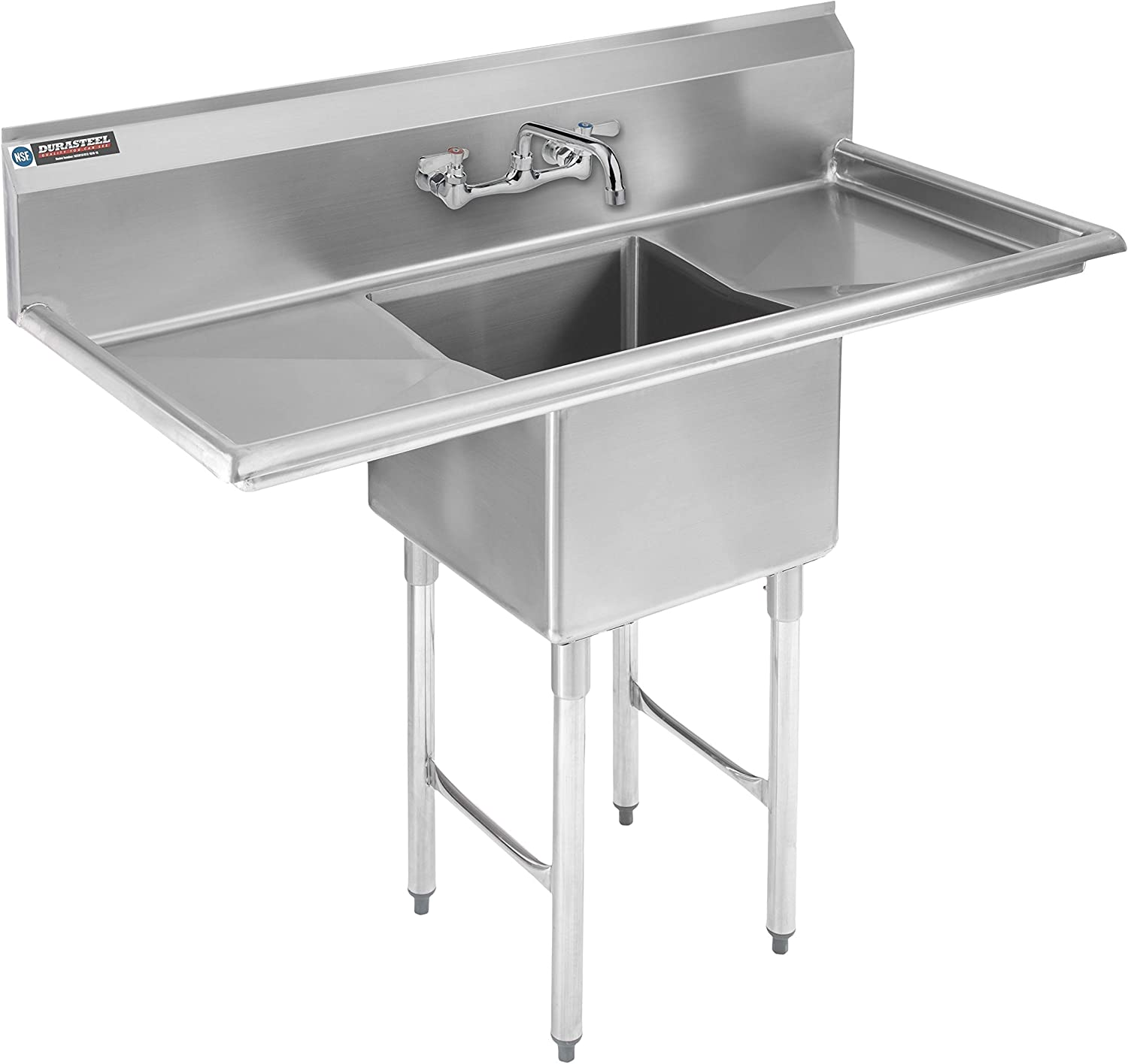 Stainless Steel Kitchen Sink with Faucet - DuraSteel 1 Compartment Commercial Utility Sink w/ Double Drainboards -18