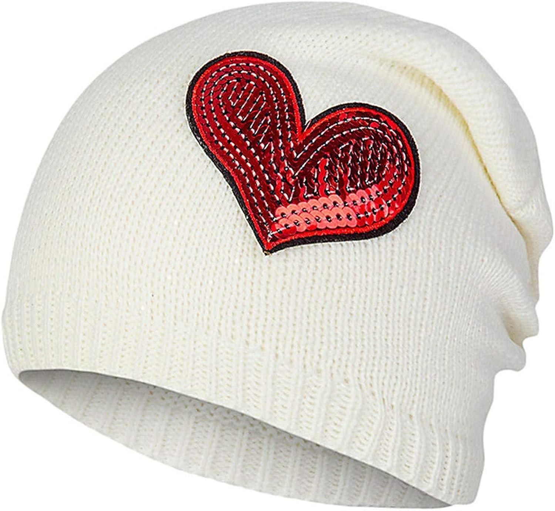 Cherryi Winter Hat Wool Cap Female Cartoon Embroidery Knitted Wool Hat Wild Heart-Shaped Hood Head Cap
