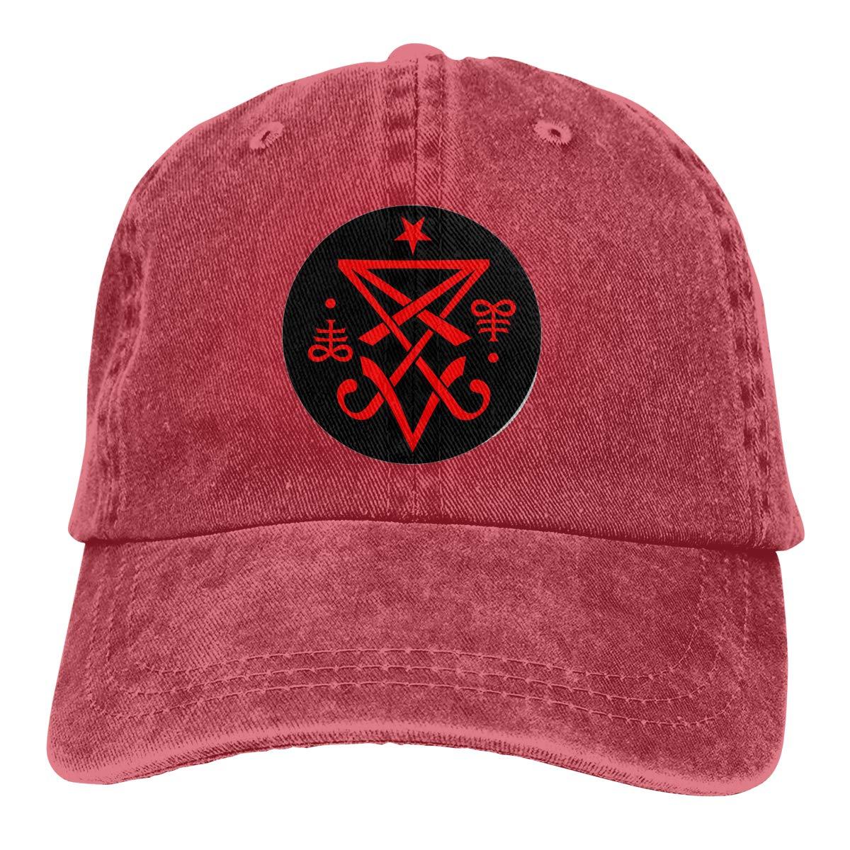 Monerla Ningpu Occult Sigil of Lucifer Satanic Adjustable Denim Hats