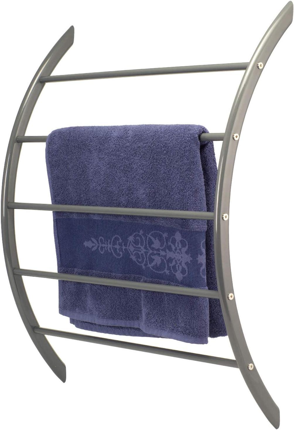 bremermann Handtuchhalter zur Wandmontage mit 5 Stangen aus Metall grau