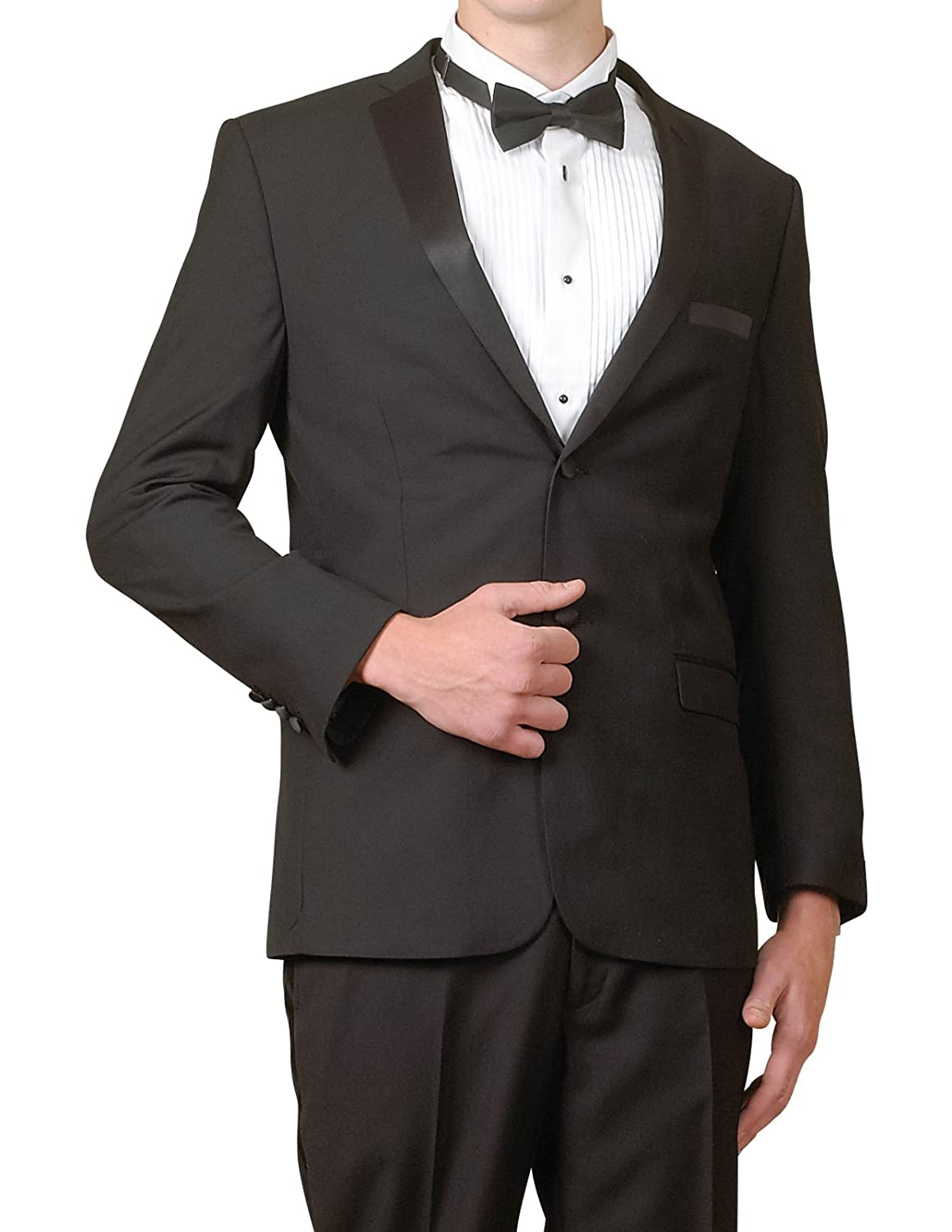 New Era Factory Outlet New Men's Super 140s Modern Black 2 Button Slim Fit Tuxedo Suit