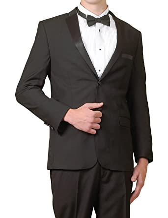 d0f8a188dc New Men's Super 140s Modern Black 2 Button Slim Fit Tuxedo Suit. Roll over  image to zoom in. New Era Factory Outlet