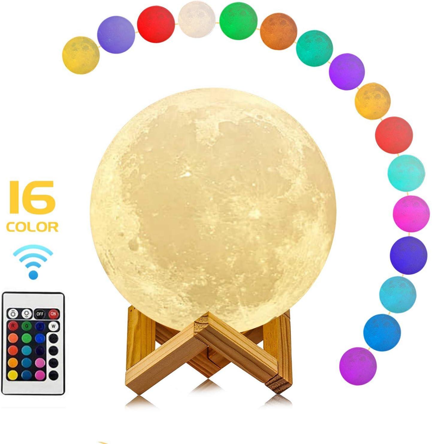 CYMY Luz LED de Luna de 16 Colores con impresión en 3D con Soporte y Control Remoto y táctil y USB Recargable - Los Mejores Regalos para los Amantes de los niños bebés