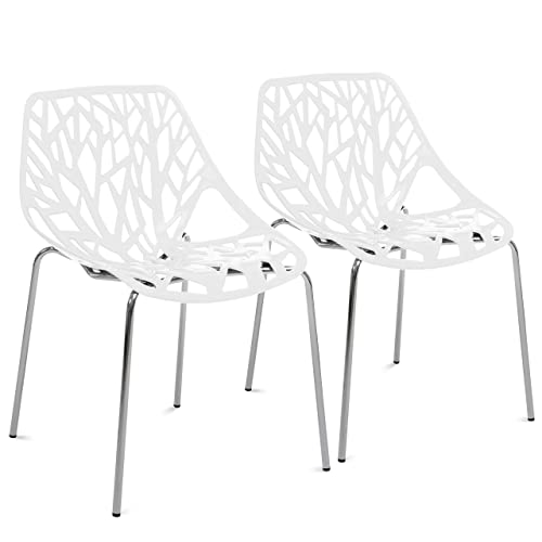 Best Choice Products Set of 2 Mid-Century Modern Stenciled Dining Side Chairs w Chrome-Plated Legs – White