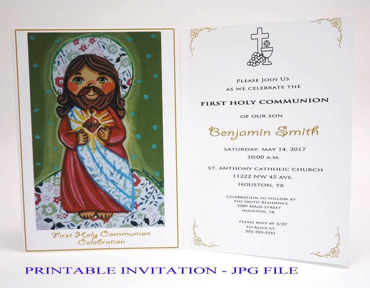 picture about Printable First Communion Invitation known as : Female 1st communion invitation female Sacred