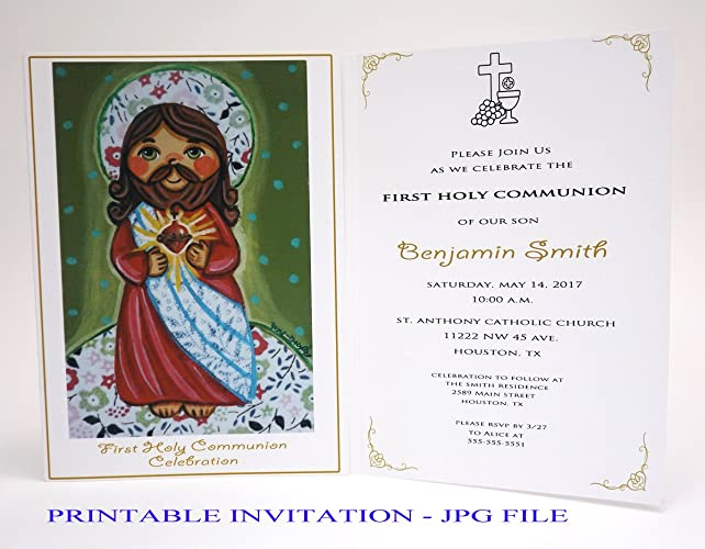 amazon com girl first communion invitation girl sacred heart of