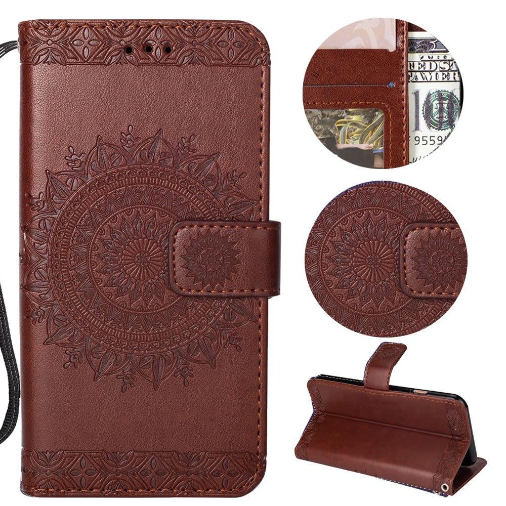 Sycode Portefeuille étui pour Huawei P20 Pro,Fleur Cuir Coque pour Huawei P20 Pro, Noir Dragonne Flip Etuis Coque pour Huawei P20 Pro-Totem Fleur,Noir SC0001096X4CA