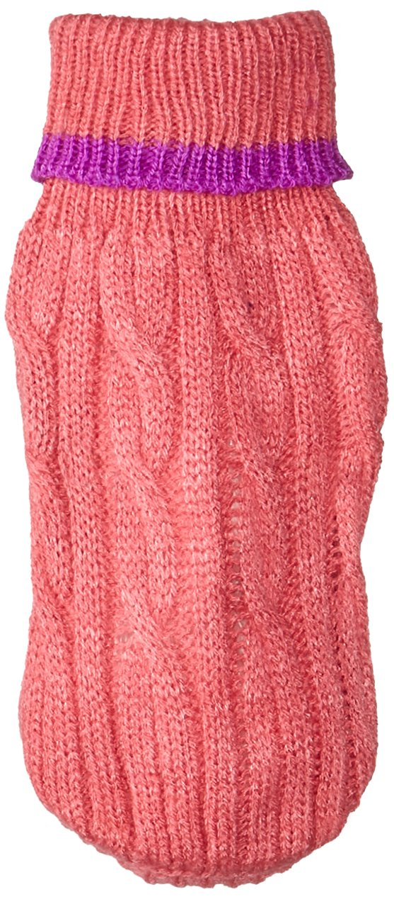 Fashion Pet Classic Cable Dog Sweater, Pink, XXX-Small