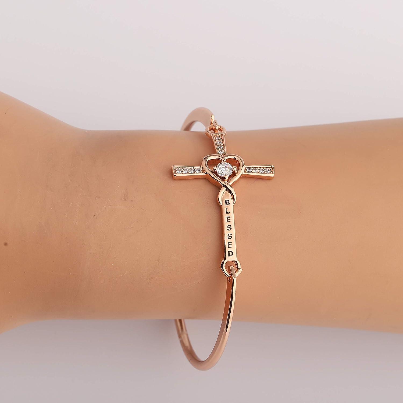 Blessed Cross Bracelet CZ Stone Infinity Cross Bangle for Girls