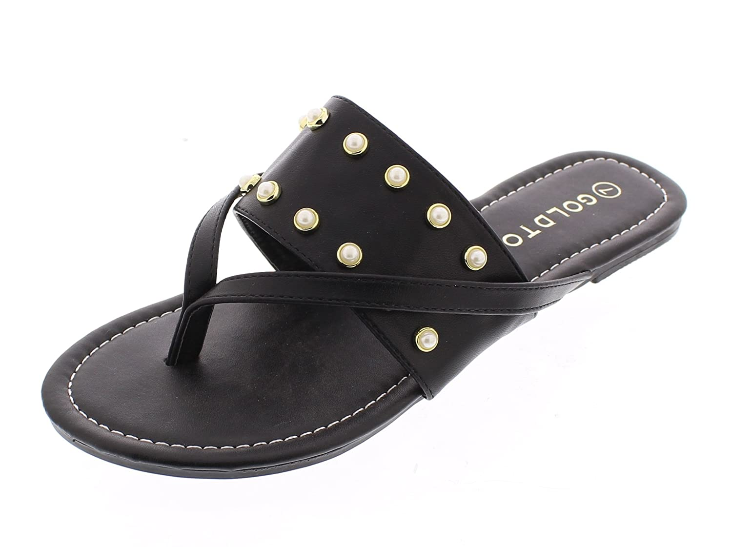 7660c91dfc706 Gold Toe Women s Ozella Double Strap Wide Band Slide On Flat Pearl Studs  Flip Flop Thong Sandal Shoes - Casual Women s Shoes