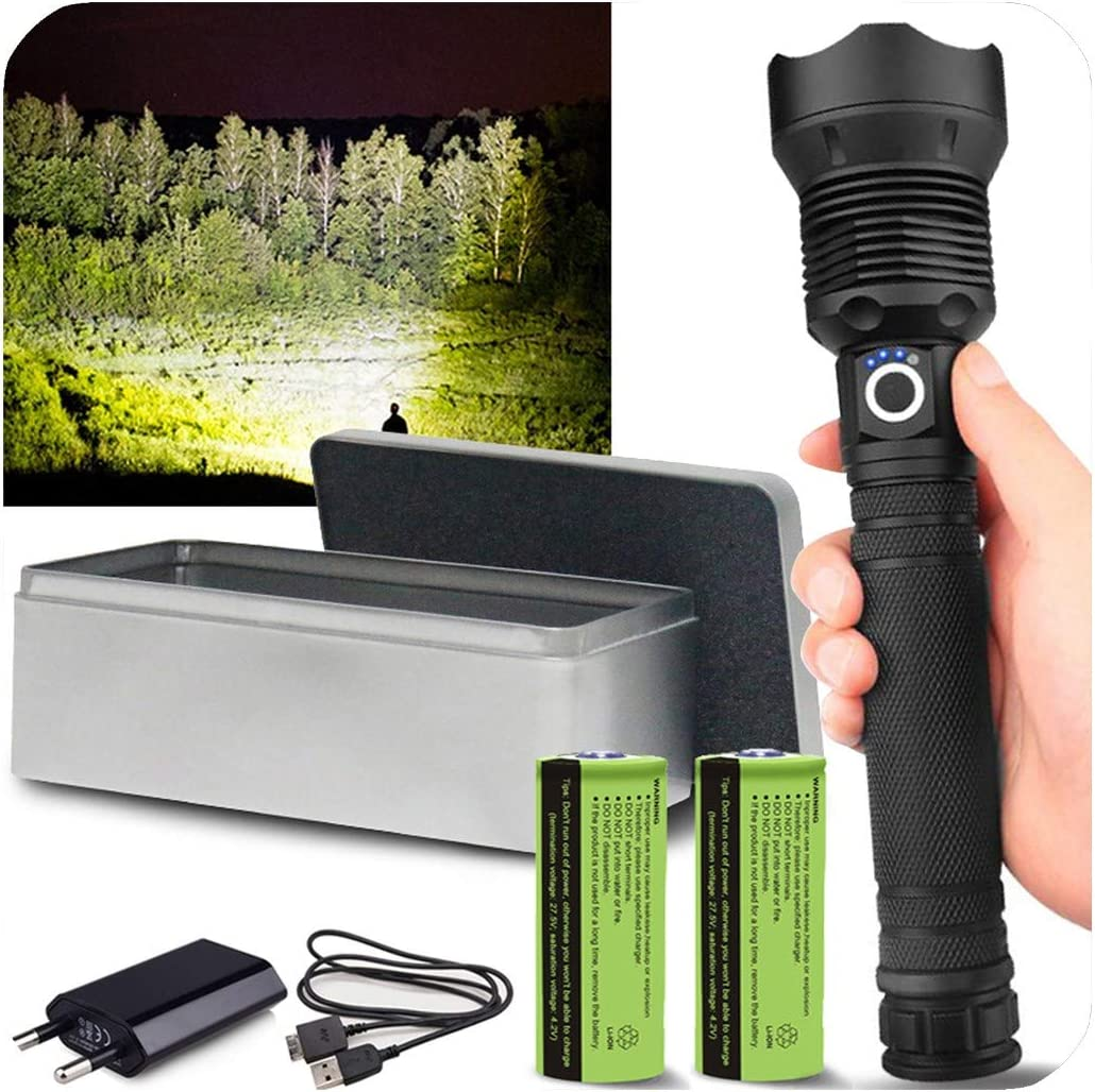 Super Bright XHP70 XHP50 LED Flashlight Most Powerful USB Zoom Retractable Torch