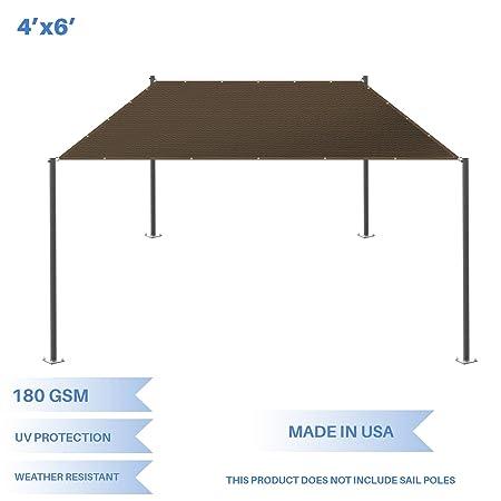 E K Sunrise 4 x 6 Sun Shade Sail-Brown Straight Edge Rectangle UV Block Durable Awning Perfect for Canopy Outdoor Garden Backyard-180GSM-Customized