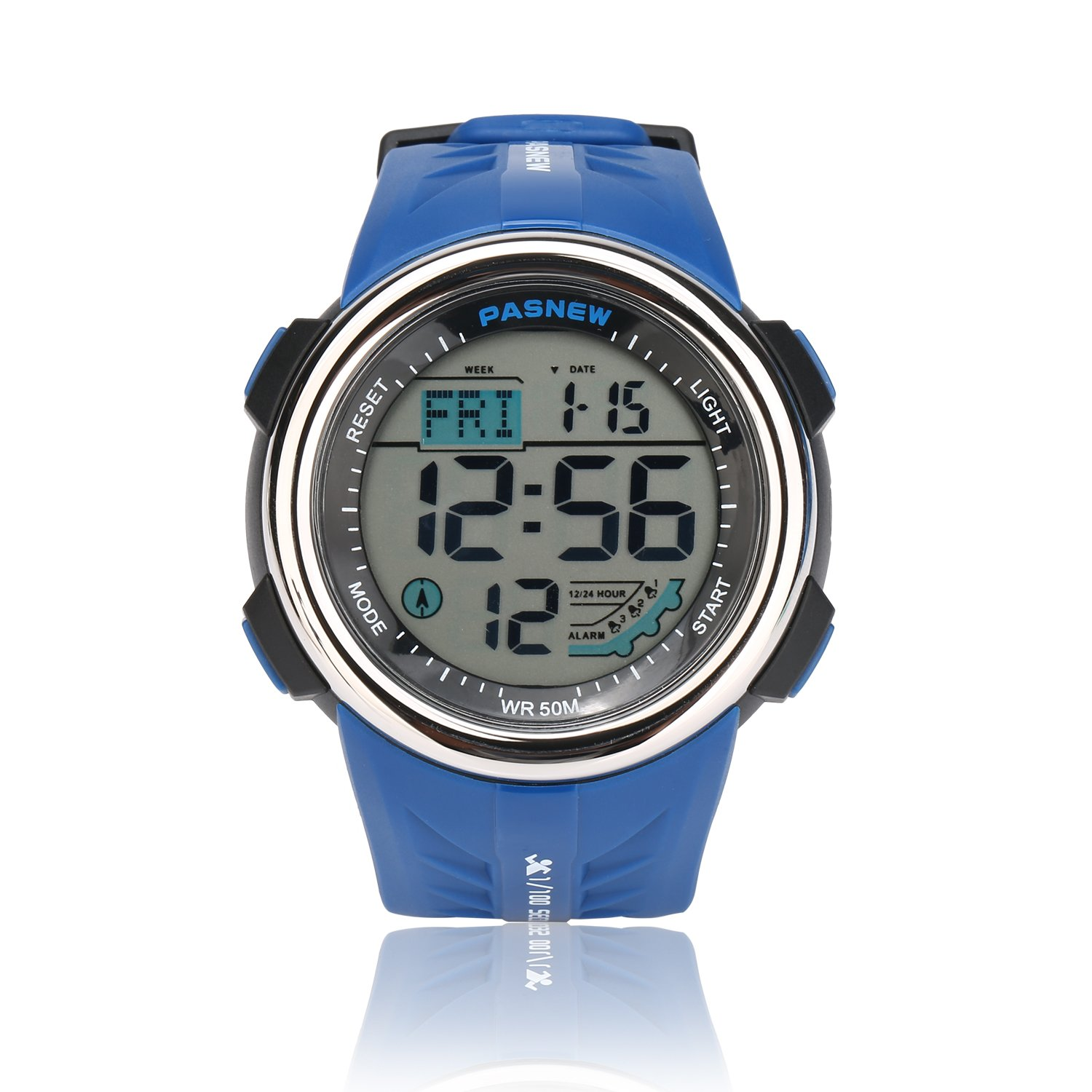 Teenagers Sport Watch | Multifunctional Wrist Clock | Digital Display | 5ATM Waterproof| EL Backlight | Stopwatch | Chronograph | 3 Alarms | Chime | PU Strap for Boys Girls (Blue) by HOWOD