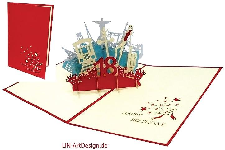 LIN POP UP Grußkarten Zum 18. Geburtstag Mädchen, Geburtstagskarten  Grußkarten Glückwunschkarten,: Amazon.de: Bürobedarf U0026 Schreibwaren