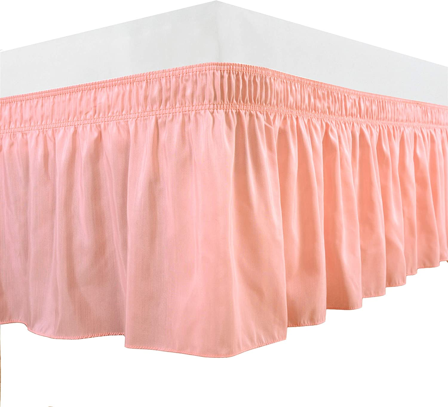 Biscaynebay Wrap Around Bed Skirts Elastic Dust Ruffles, Easy Fit Wrinkle and Fade Resistant Silky Luxrious Fabric Solid Color, Pink for Queen Size Beds 15 Inches Drop