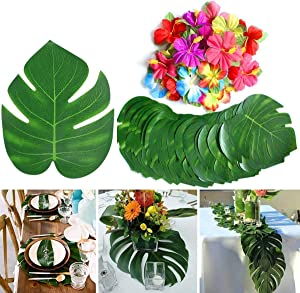 GPARK 88 Pcs Artificial Tropical Palm Leaves with Safari Faux Stems Leave + Summer Flowers for Wedding Birthday Hawaiian Jungle Beach Luau Party Table Suppliers Garden Greenery Decorations