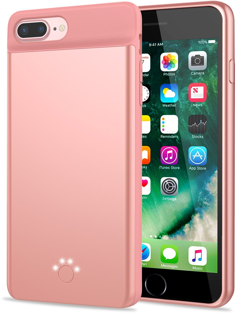 iPhone 8 Plus 7 Plus Battery Case, Emishine 4000mAh Slim Rechargeable External Battery Portable Charging Case for Apple iPhone 8 Plus 7 Plus … (Rose Gold)