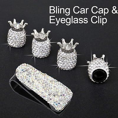 Car Tire Valve Stem Caps 4 Pack Bling Crown Handmade Crystal Rhinestone Decor Universal Auto Dustproof Accessories with 1 Piece Sunglasses Eyeglasses Mount Clip: Automotive [5Bkhe2003275]