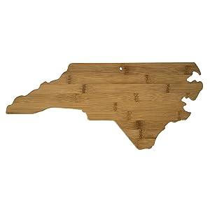 Totally Bamboo 20-7978NC North Carolina State Shaped Bamboo Serving & Cutting Board,
