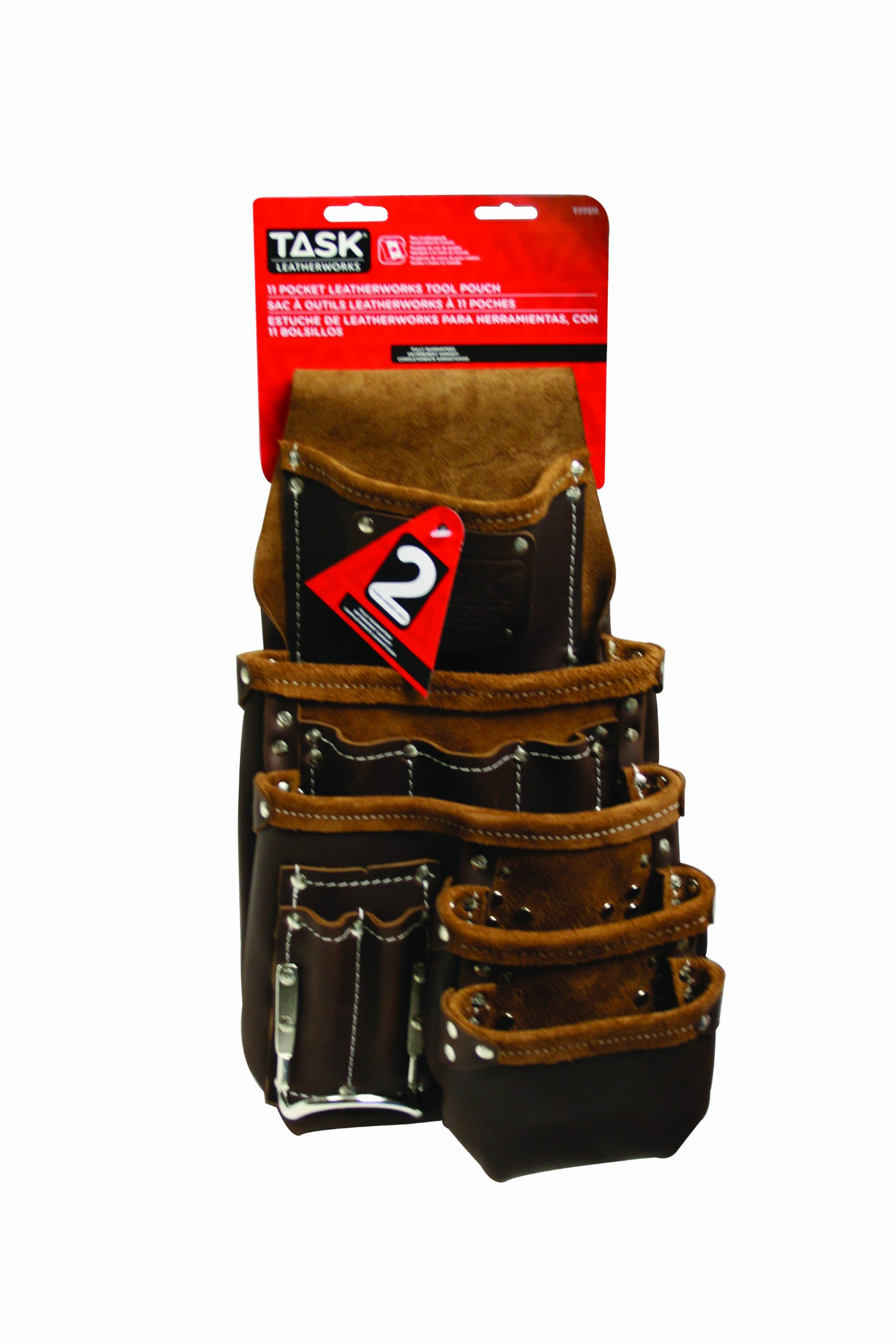 Task Tools T77311 Leather Tool Pouch, 11-Pocket