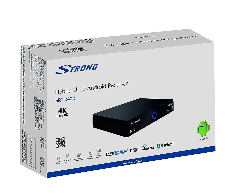 IPTV, DVB-T2, DVB-S2, DVB-C, HDMI, USB, Ethernet, Wi-Fi Strong SRT 2402 Ultra HD Ricevitore IP Android Nero