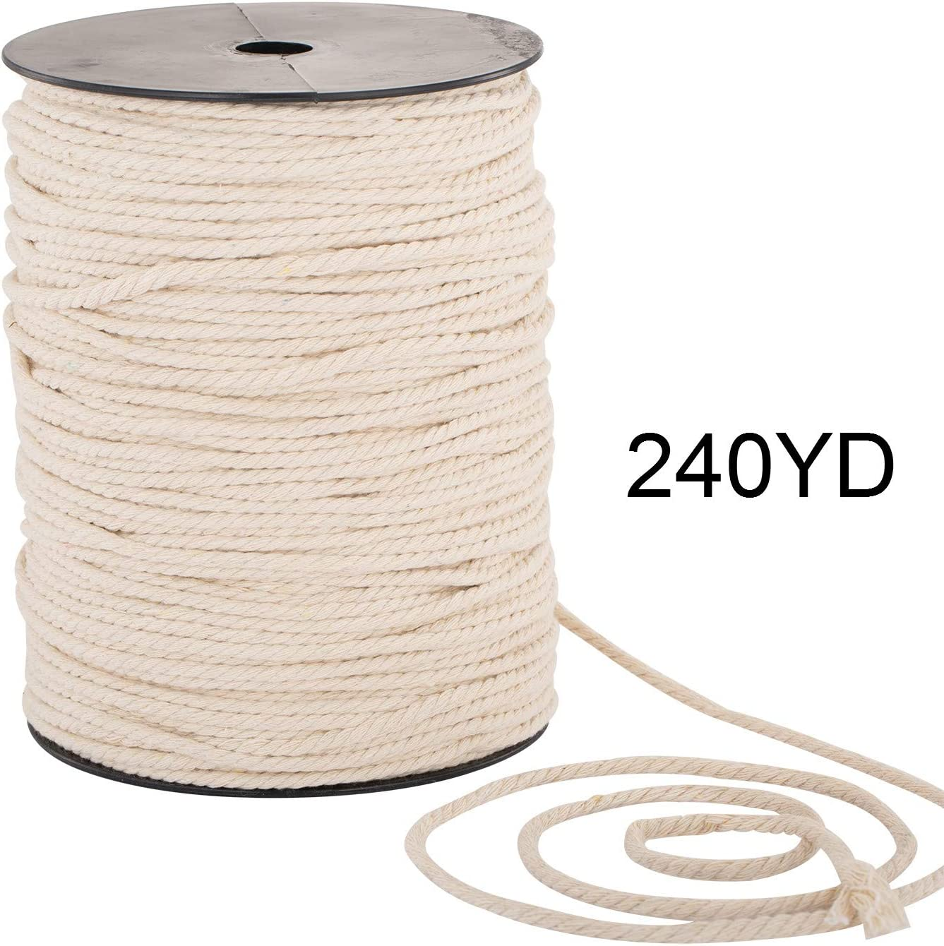 Macrame Cord 4mm x 240yd | 100% Natual Cotton Macrame Rope | 3 Strand Twisted Cotton Cord for Handmade Plant Hanger Wall Hanging Craft Making
