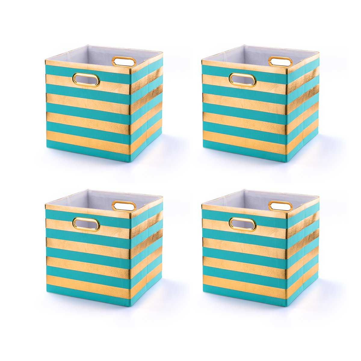 BAIST Fabric Storage Bins,Heavy Duty Square Gold Canvas Fabric Storage Cubes Bins Baskets For Bedroom Shelf School Days,set of 4,Aqua Stripe (11×11×11'')