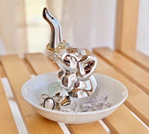 PUDDING CABIN Lucky Elephant Ring Holder Trinket Dish Trinket Tray Elephant Gift Women Girls Birthday